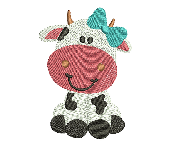 girl cow free embroidery