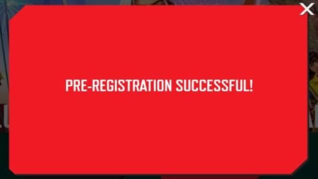 Pre-registration saucessful message