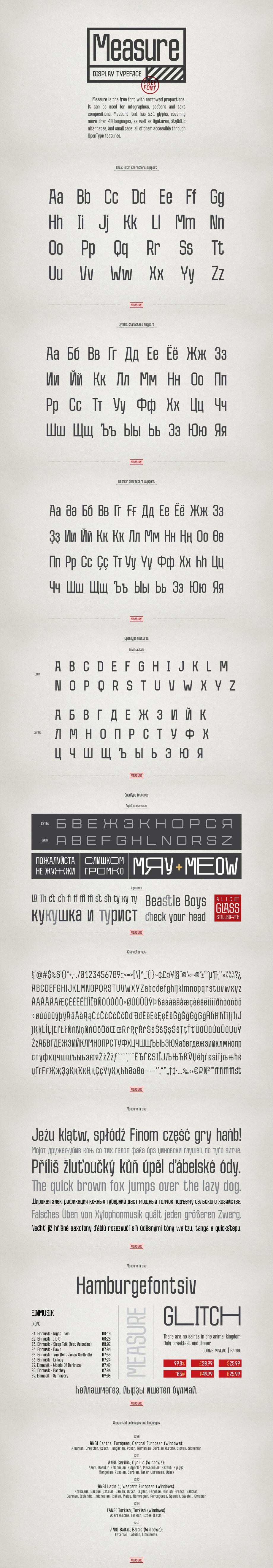 Measure. Free font