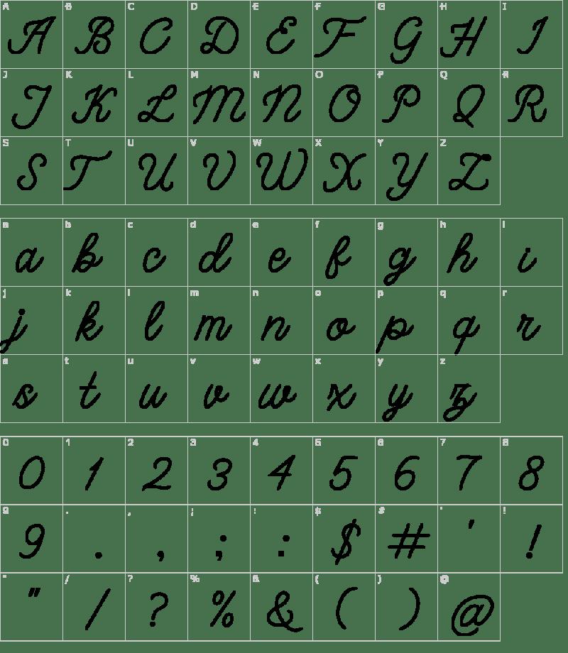 bangkar-font-character-map