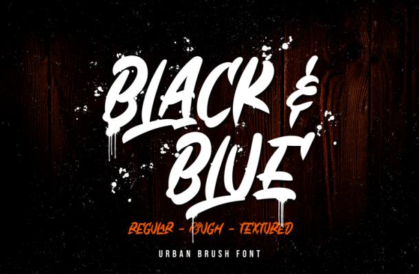 Black & Blue Script Font