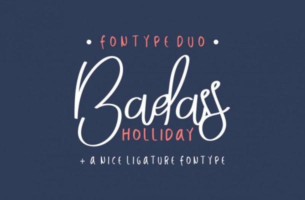 Badass Holliday Script Font Duo