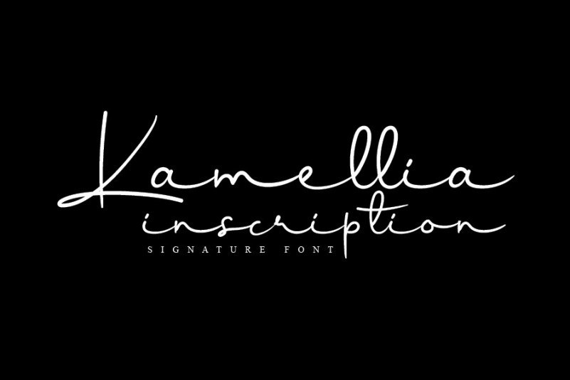 Kamellia Handwritten Font is a delicate and flowing handwritten signature font. It looks stunning on wedding invitations, thank you cards, quotes, greeting cards, logos, business cards and every other design which needs a handwritten touch.  This font is free for personal use.  Link to purchase full version and commercial license : HERE  Kamellia Signature Font