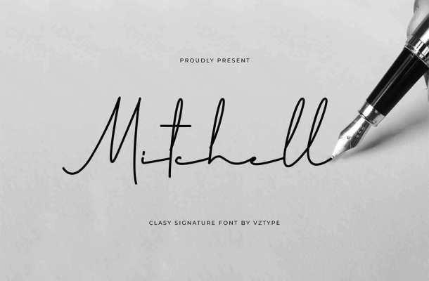 Mitchell Signature Font