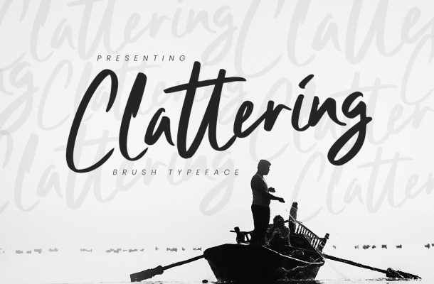 Clattering Brush Typeface Font