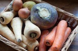 Wicker basket of fresh root vegetables