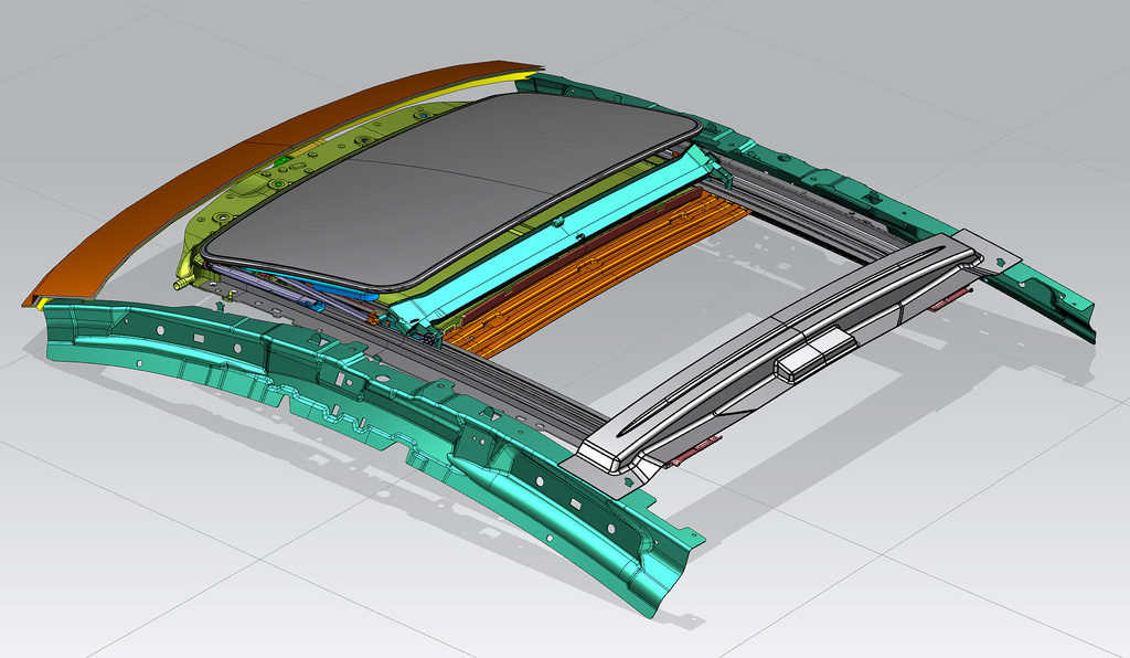 Schematic of sunroof shows complexity of the feature.