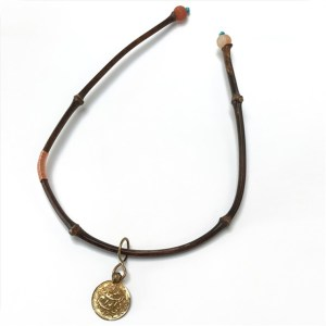 Black Bamboo Necklace with Antique Copper Coin by Robert Liu