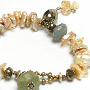 Keshi Pearl and Sunstone Bracelet by Lucia Antonelli