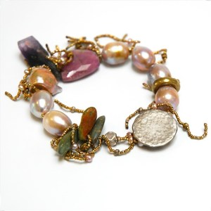 Raw Ruby, Amethyst, and Pearl Bracelet by Lucia Antonelli