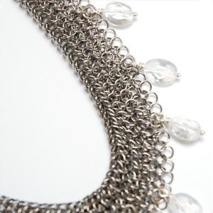 Rolled Chain Mail Necklace with Quartz by Elaine Unzicker