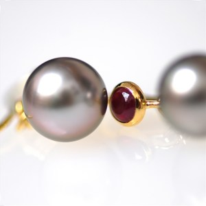 Ruby and Pearl Drop Earrings by Michael Norman Bayes