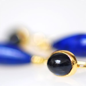 Sapphire and Lapis Drop Earrings by Michael Norman Bayes