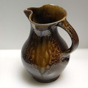Quart Dark Salt Glaze Pitcher with Ash Run by Mark Hewitt