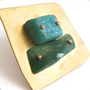 """Thru the Times"" Turquoise and Green Resin Brooch by Maru López"