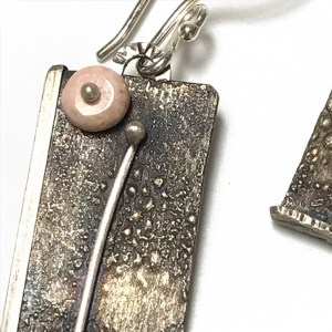 Traveler Earring Rhodochrosite by Theresa St. Romain