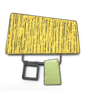 Yellow and Green Articulated Brooch by Mary + Lou Ann