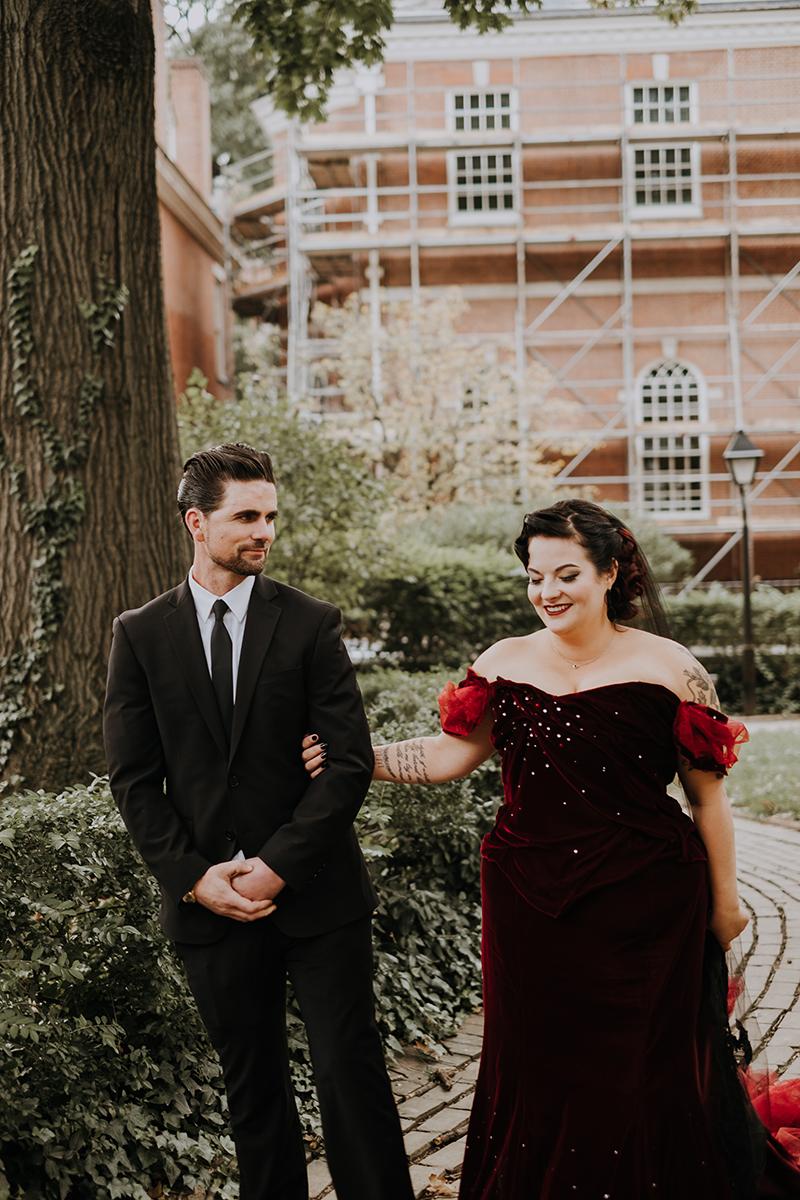 velvet wedding dress | philadelphia wedding | moody film wedding photography | travel wedding photographer