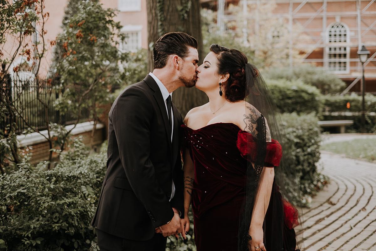 red velvet wedding dress | philadelphia wedding | moody film wedding photography | travel wedding photographer