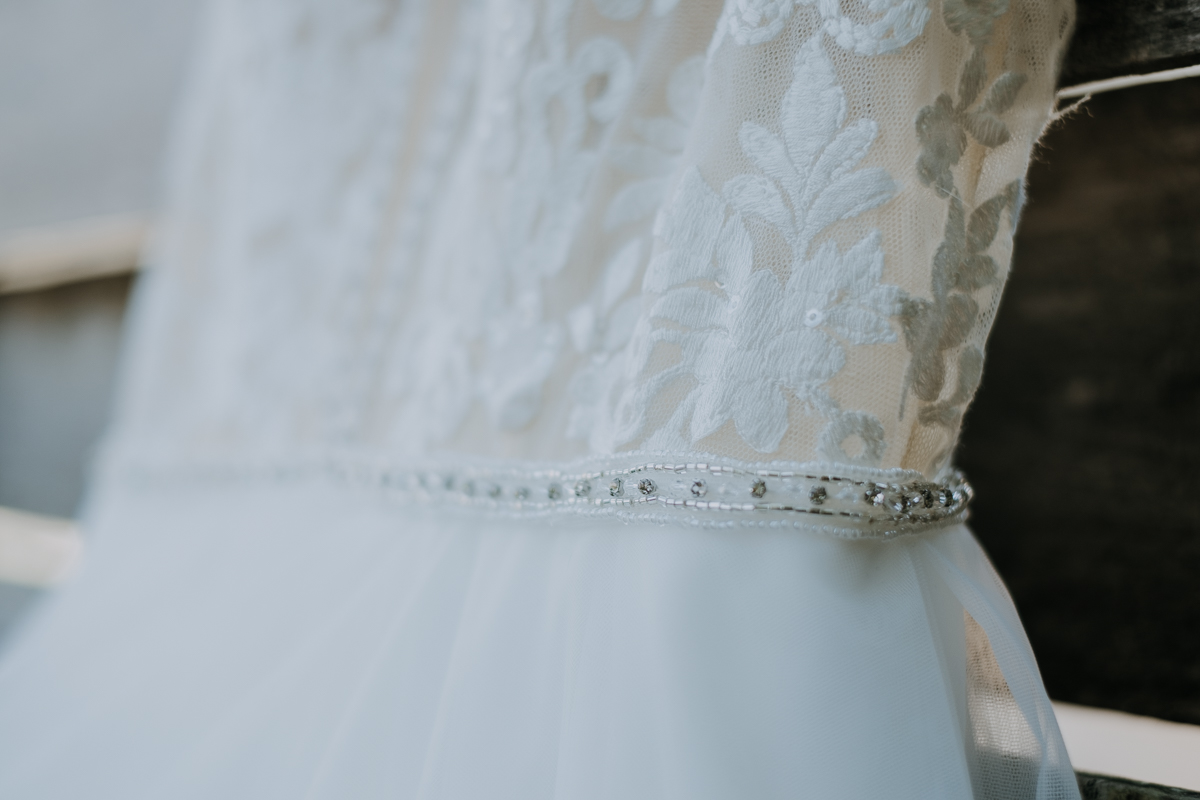 lace and tulle wedding dress details | freehearted film co | tampa wedding photographer | tulle wedding dress | lace wedding dress | chic tampa wedding