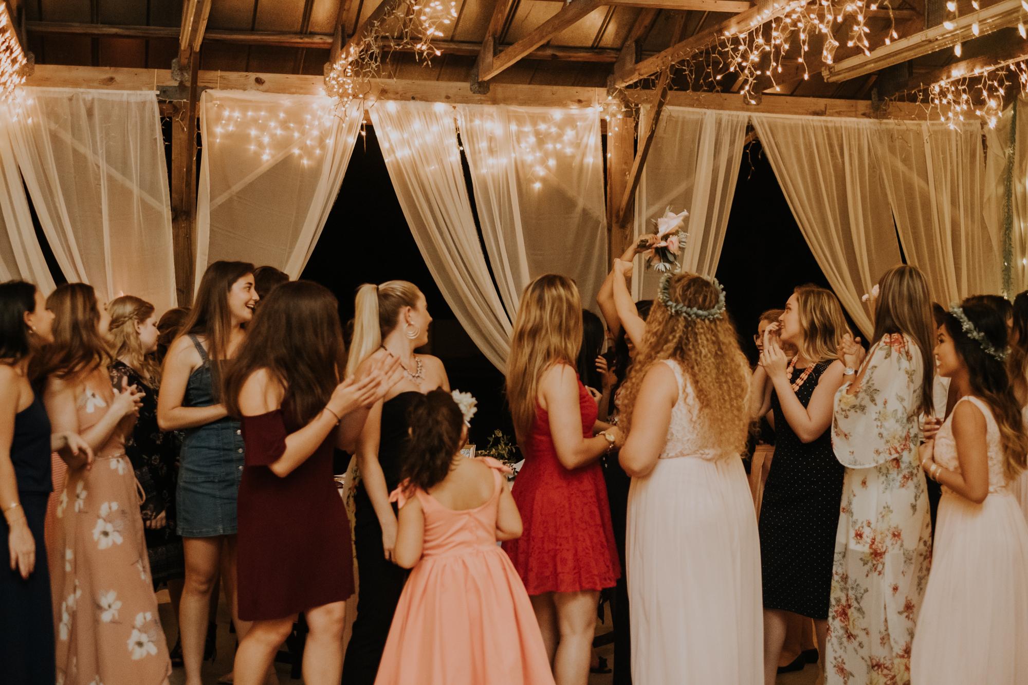 bouquet toss | boho bouquet toss | boho wedding reception | Florida wedding | romantic sarasota wedding