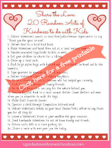Free Printable: 20 Random Acts of Kindness to Do with Kids