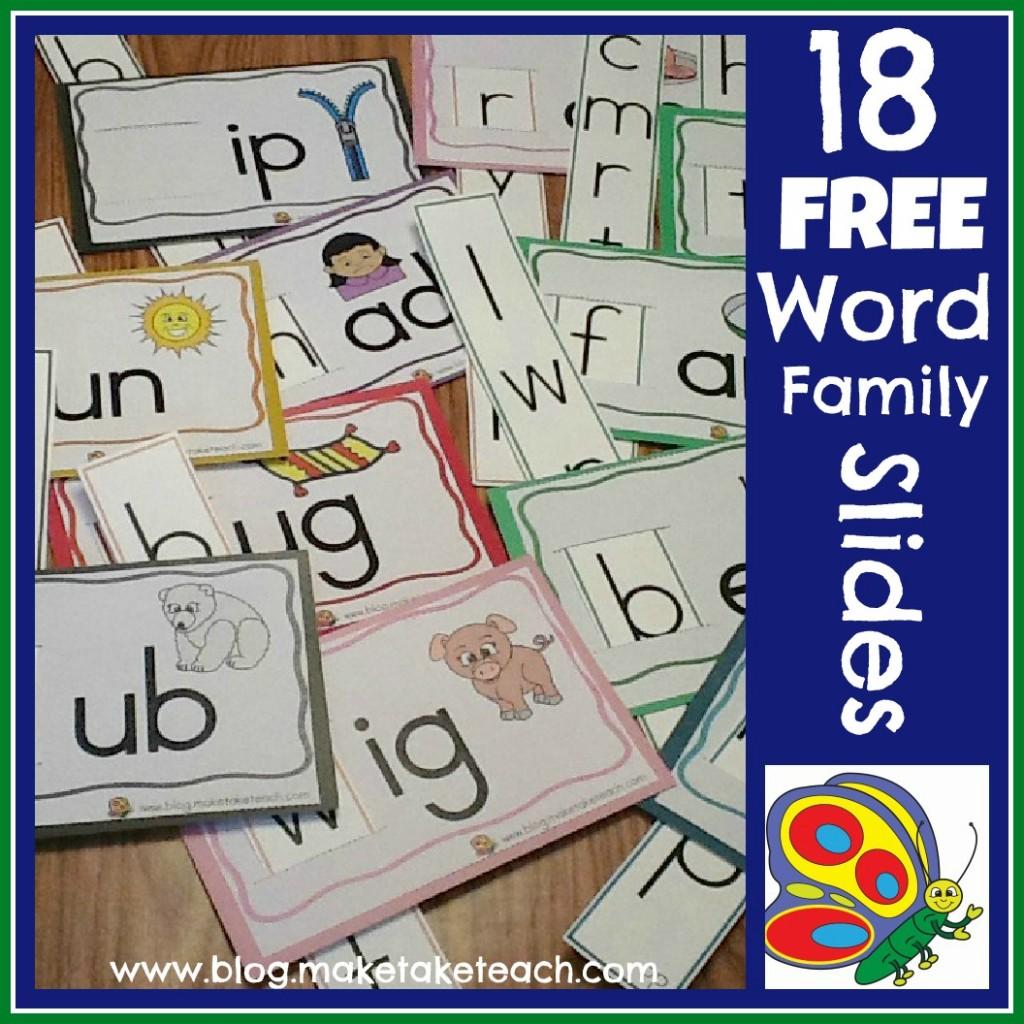 18 Free Word Family Sliders
