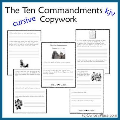 Free Ten Commandments Cursive Copywork KJV