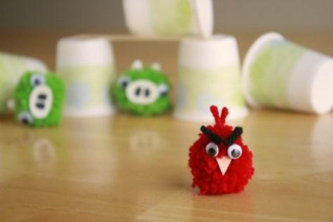DIY Angry Birds Pom Poms Craft