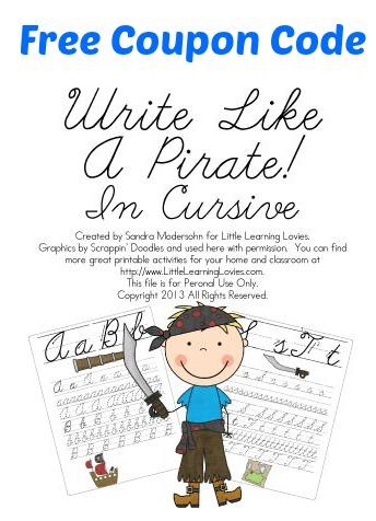 free write like a pirate cursive writing practice set coupon code free homeschool deals. Black Bedroom Furniture Sets. Home Design Ideas