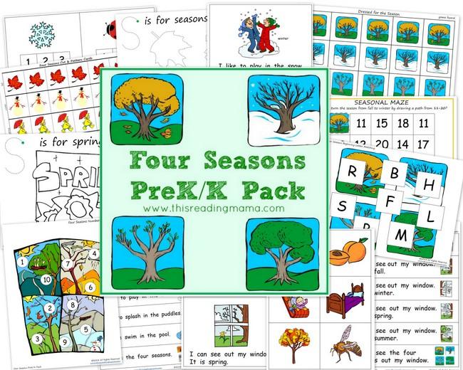 free worksheets four seasons prek k printable pack free homeschool deals. Black Bedroom Furniture Sets. Home Design Ideas