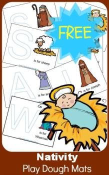 Nativity: FREE Nativity Play Dough Mats