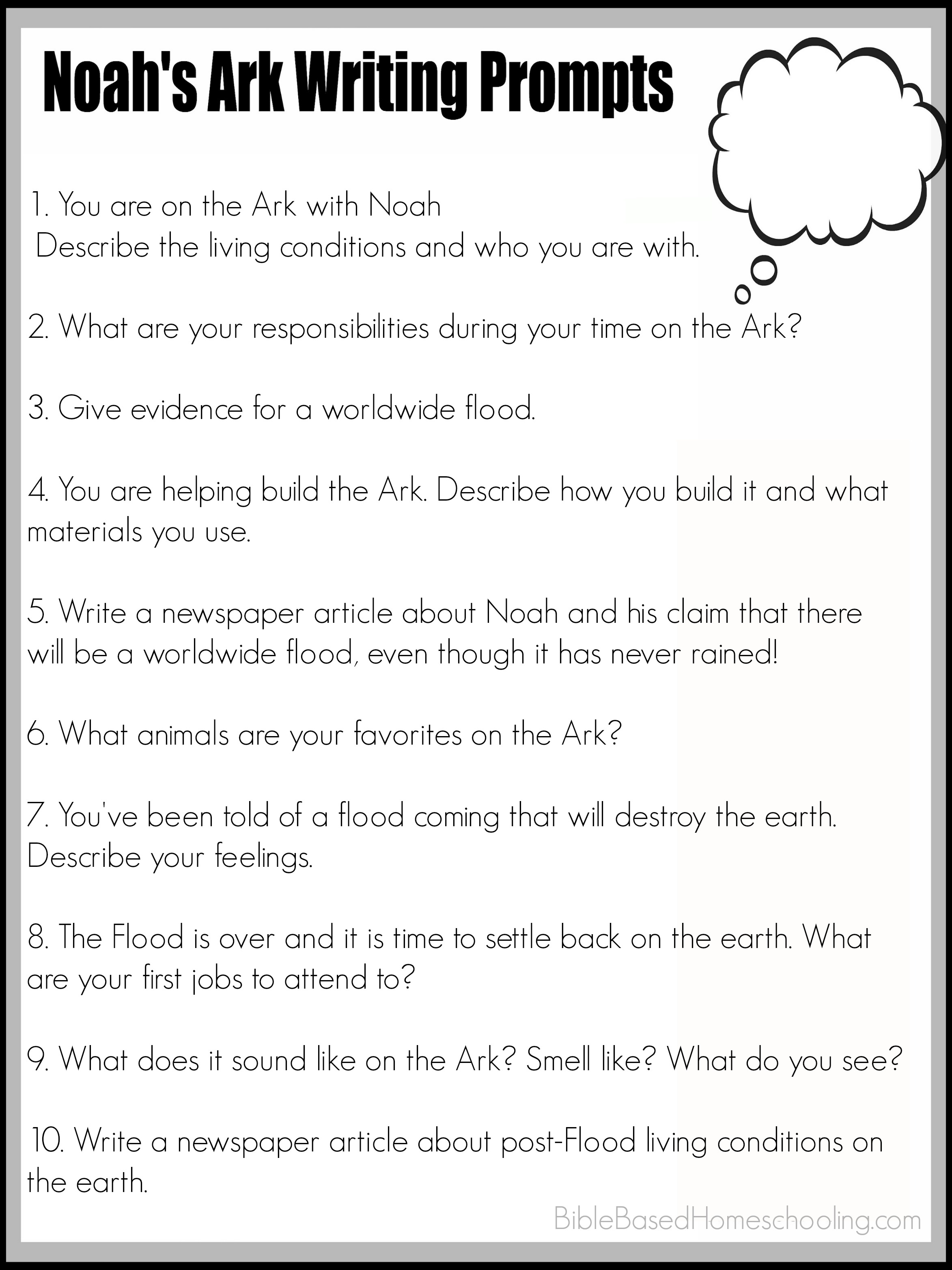 Free Noah S Ark Writing Prompts Printable