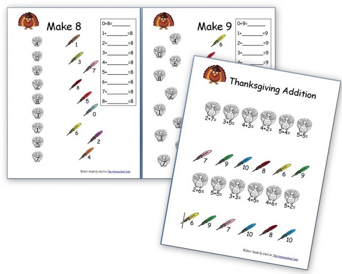 Thanksgiving Worksheets: Free Basic Addition and Number