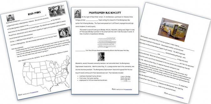 Free Notebook Pages: Rosa Parks and the Montgomery Bus