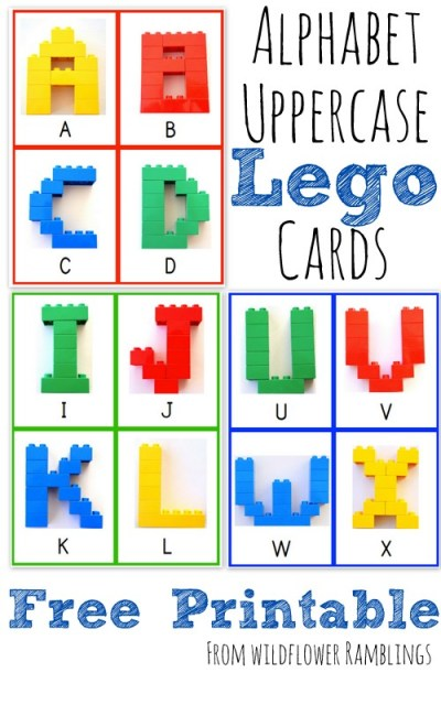 Uppercase Alphabet Lego Cards