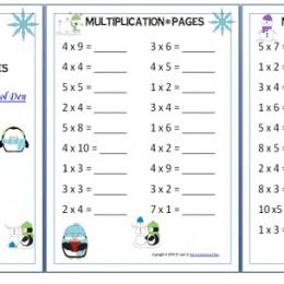 Winter Themed Multiplication Worksheets