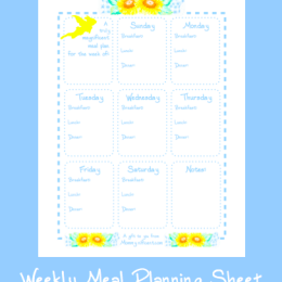 Free Weekly Meal Planning Sheet Printable