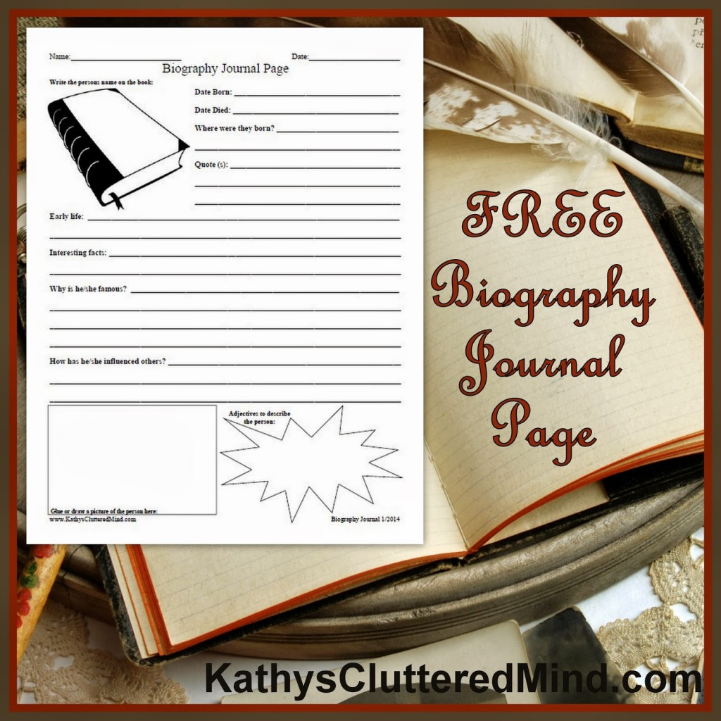 Free Biography Journal Page Printable