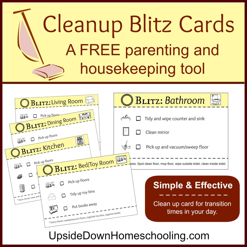 Free Cleanup Blitz Cards A Free Parenting And Housekeeping Tool