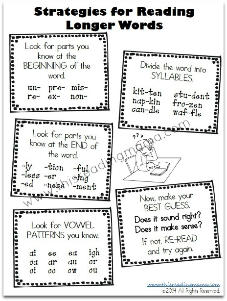 Strategies for Reading Longer Words: Free Printables