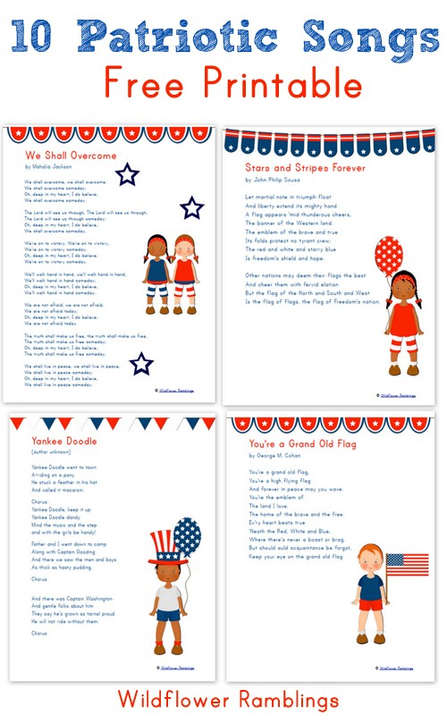 Free Printables 10 Patriotic Songs For Children Free