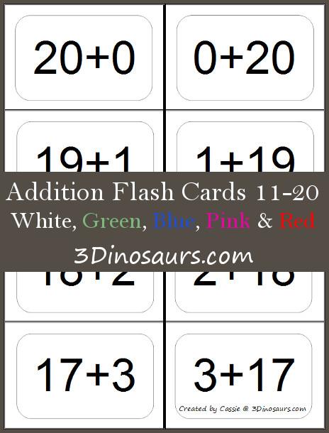 Free Addition Flash Cards 10 20 Free Homeschool Deals