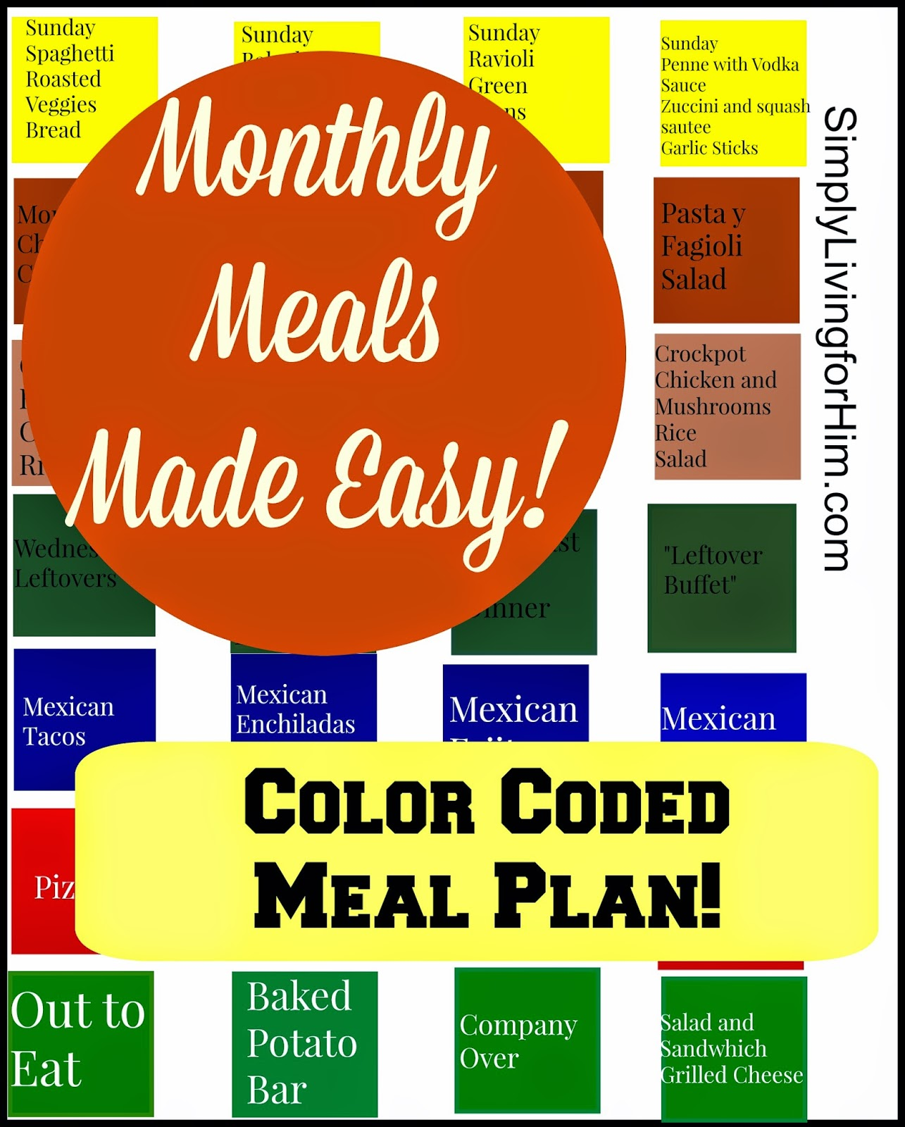 Free Printable Color Coded Meal Planner