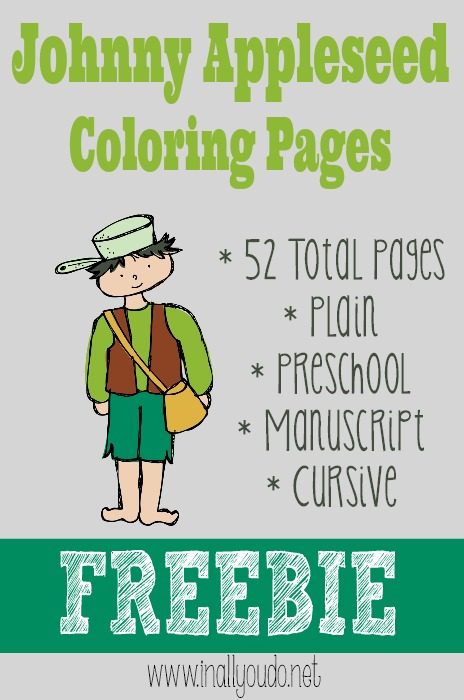 In These FREE Johnny Apple Seed Coloring Printable Pack From All You Do Will Find