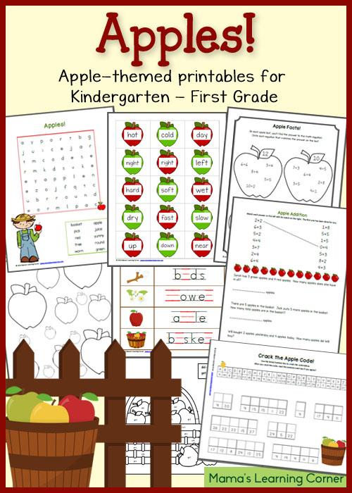 Free Apple Printables For K 1st Grade Free Homeschool