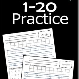 FREE Kindergarten 1-20 Number Practice Set