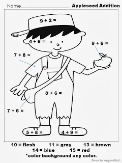 Pirate Girl Has A FREE Johnny Appleseed Math Worksheet It Focuses On Addition And Coloring Is Sure To Be Fun This Week As You Prepare Celebrate
