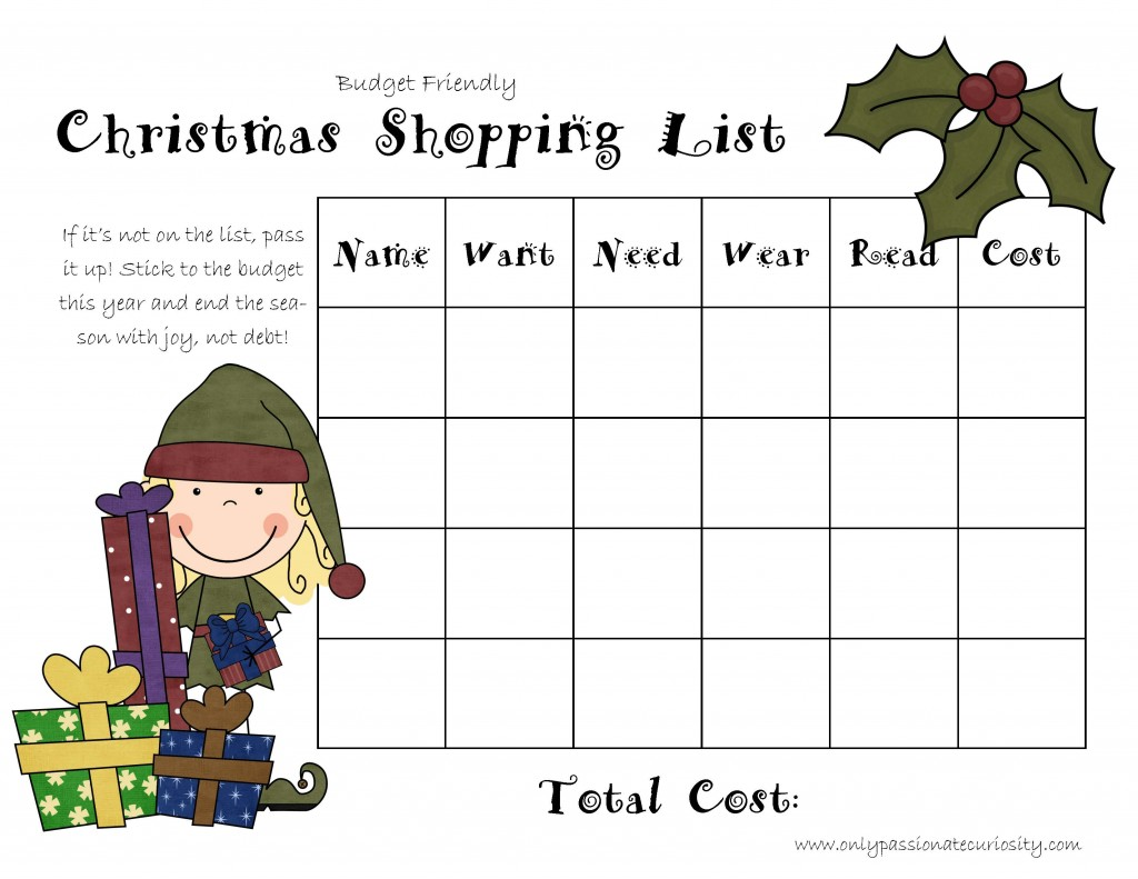 Free Printable Christmas Shopping List