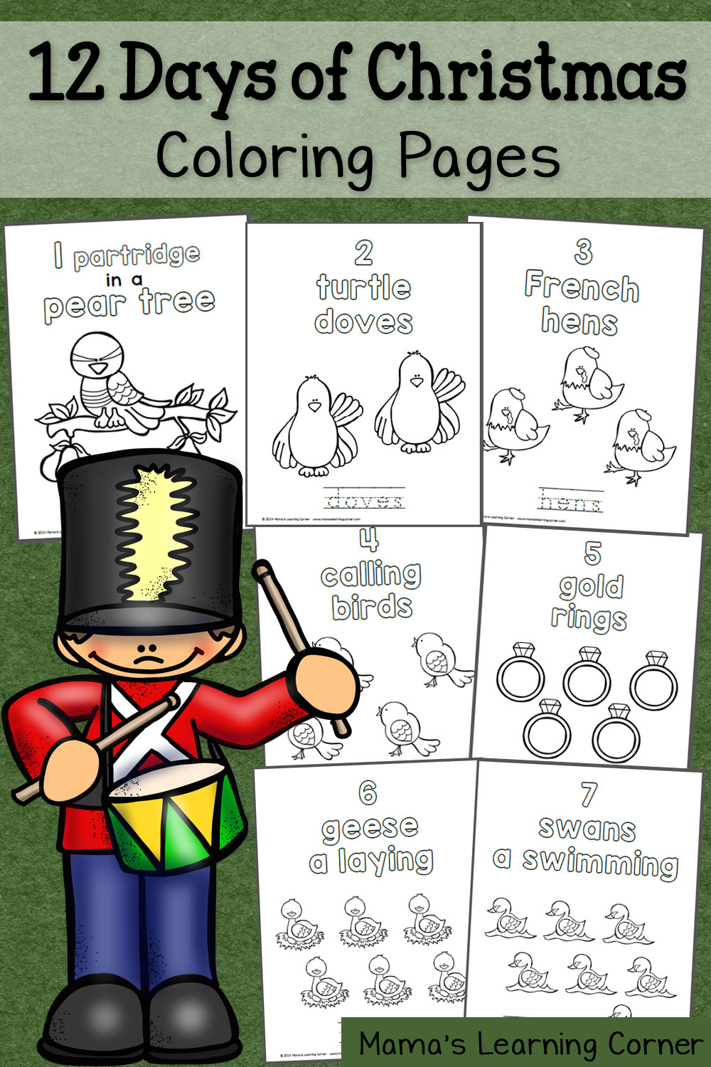 12 Days Of Christmas Coloring Pages To Print - Worksheet & Coloring ...